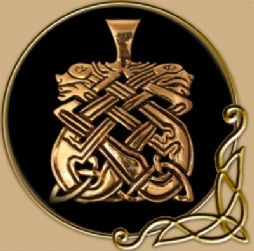 Celtic Hounds bronze pendant